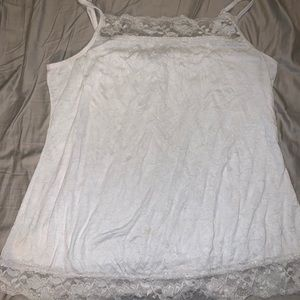 White crinkle tank top